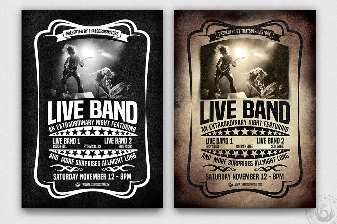 Live Concert Flyer Template V1, vintage psd flyers