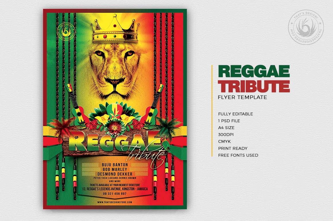 Reggae Tribute Flyer Template, Rasta PSD download