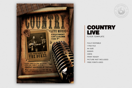 Country Live Flyer Template PSD V5, Wanted flyers farwest Western music template, rodeo bike cowboy in a coyote bar