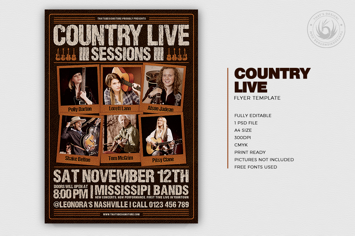 Country Live Flyer Template PSD V6, Wanted flyers farwest Western music template, rodeo bike cowboy in a coyote bar