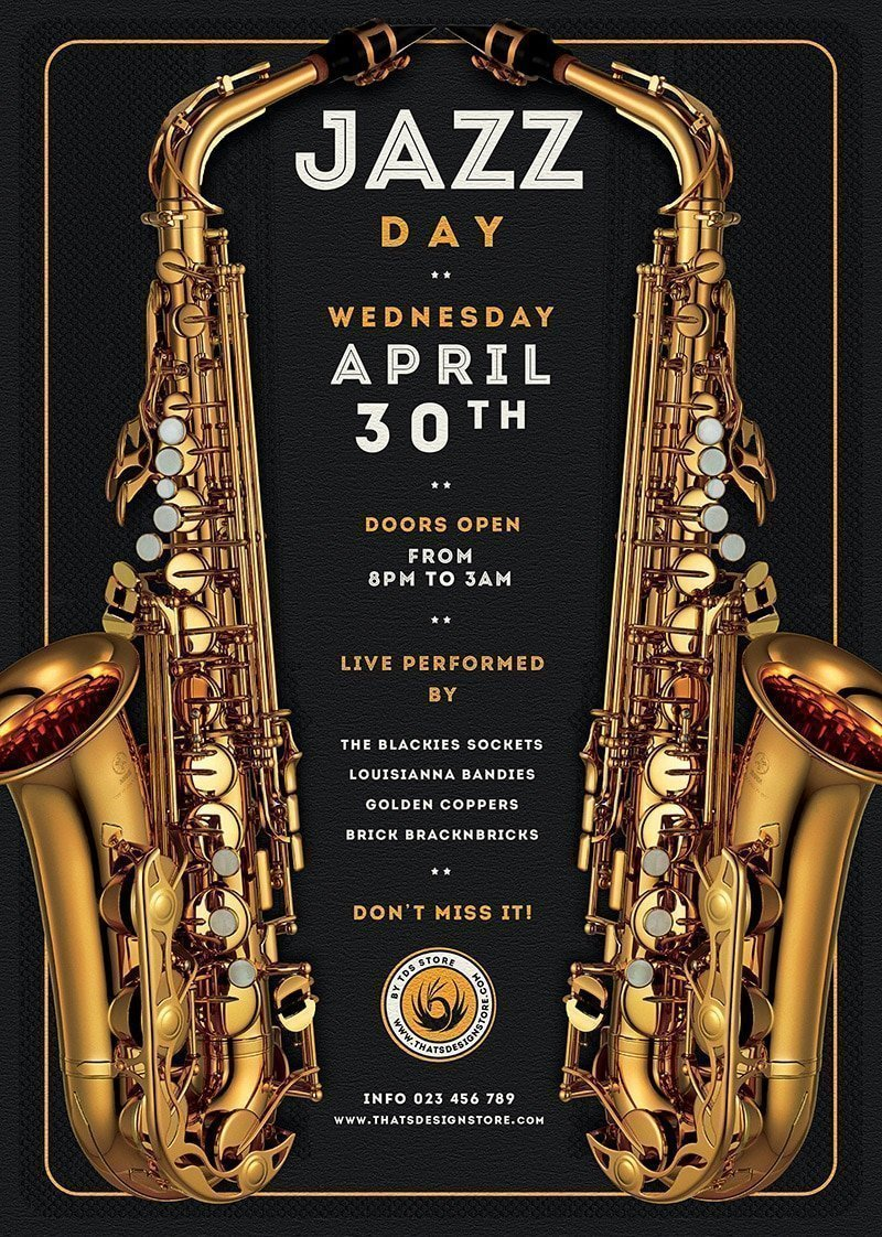 Jazz Posters Flyers psd Template for jazzy blues live Band Concert or festival, editable photoshop