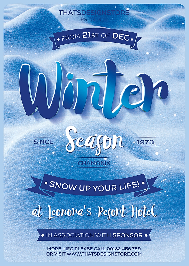 Winter Season Flyer Template V4 | Free posters design for