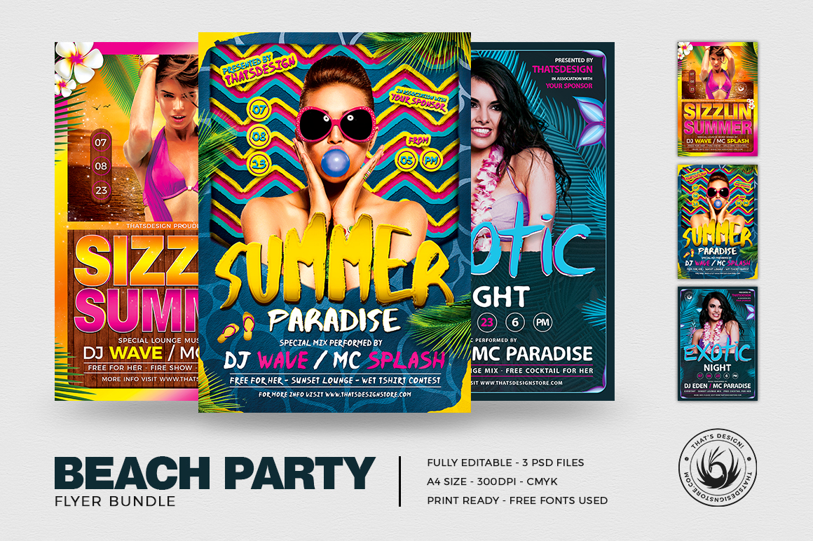 Beach Party Flyer Templates for Summer Events