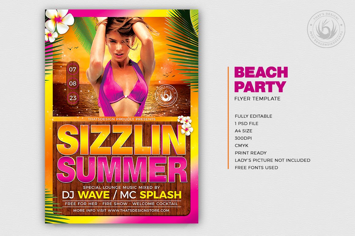 Beach Party Flyer Template summer psd design