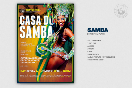 Samba flyer template psd for carnival brazil, shows, workshops, capoeira classes