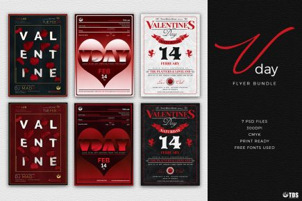Valentine's Day Flyer Templates PSD to download Bundle Psd download to customize with photoshop