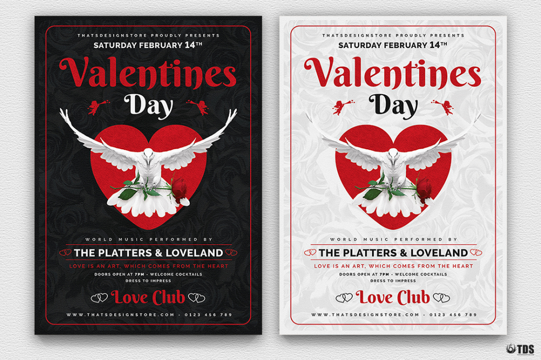 Valentine's Day Flyer Template psd download V13