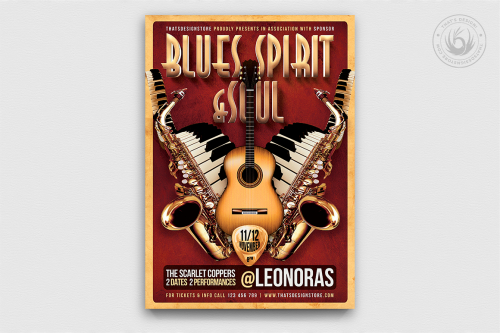 Blues and Soul Music Live Flyer Template, Concert psd posters download
