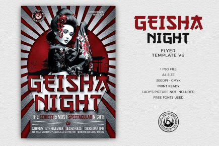 Geisha Night Flyer Template V6