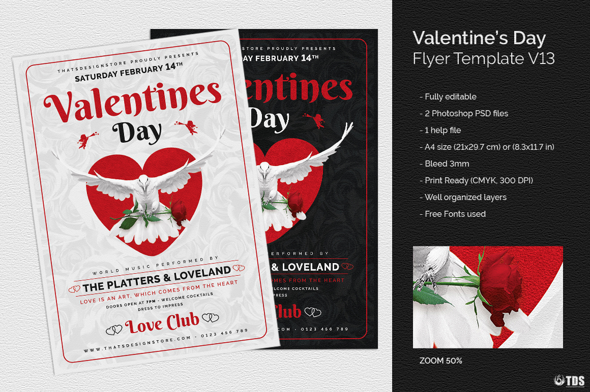 Valentine's Day Flyer Template psd download V13 Psd download to customize with photoshop