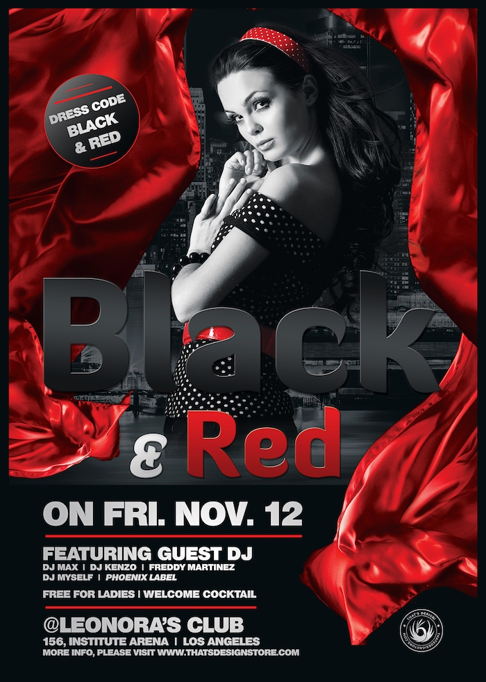 Black & Red Flyer Psd Template, clubflyers