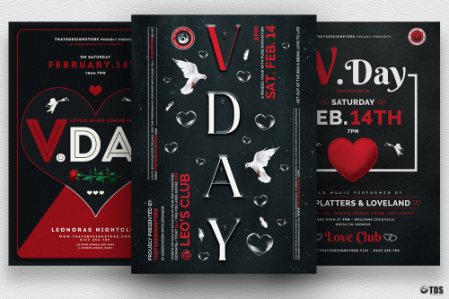 Valentines Day Flyer Bundle V3 Psd download to customize with photoshop Psd download to customize with photoshop