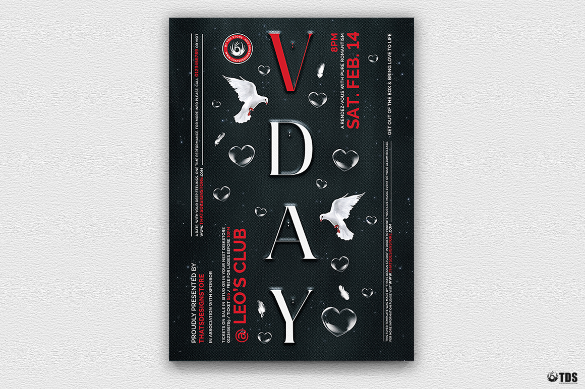 Valentine's Day Flyer Template psd download V16 Psd download to customize with photoshop