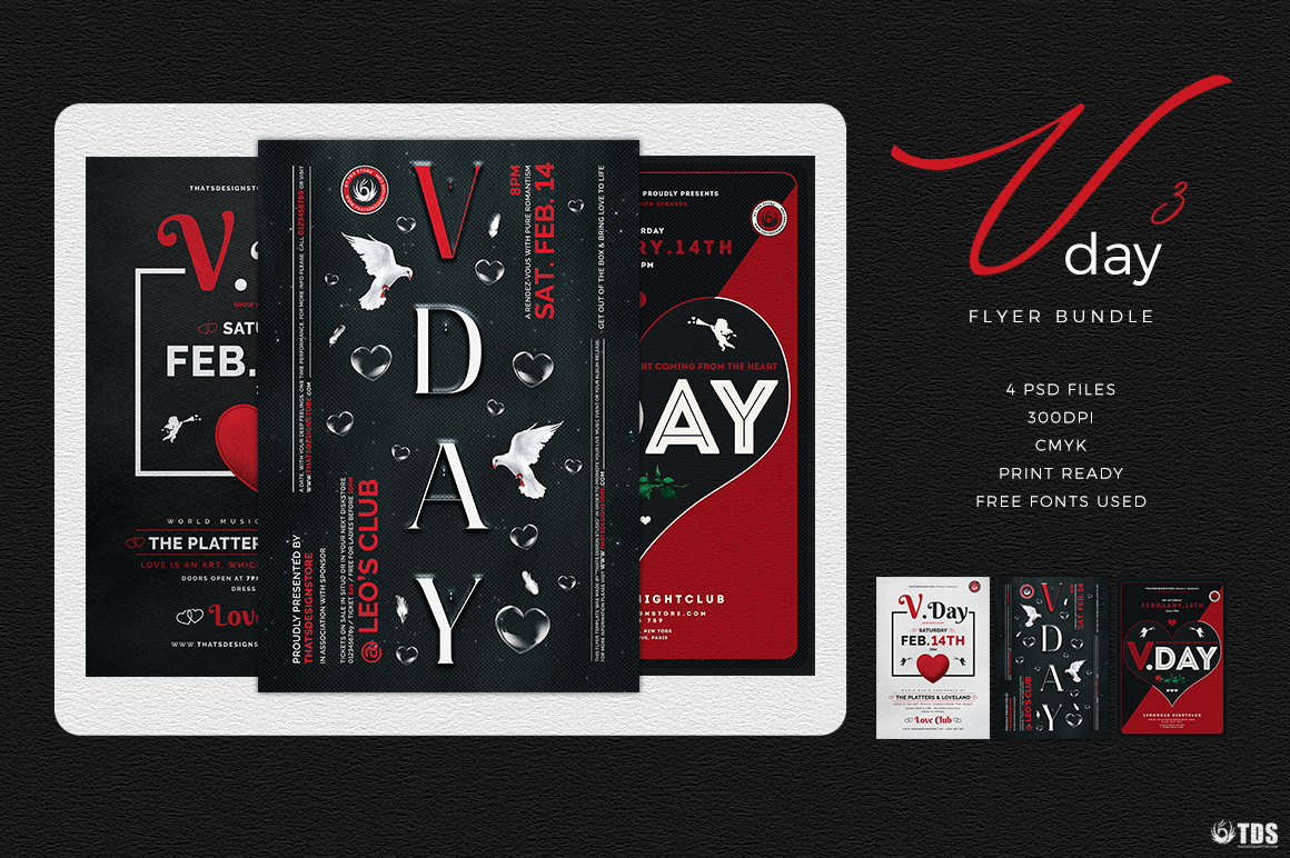 Valentines Day Flyer Bundle V3 Psd download to customize with photoshop