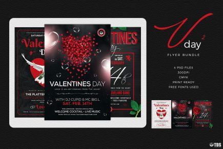 Valentines Day Flyer sd templates to download Bundle V2 Psd download to customize with photoshop