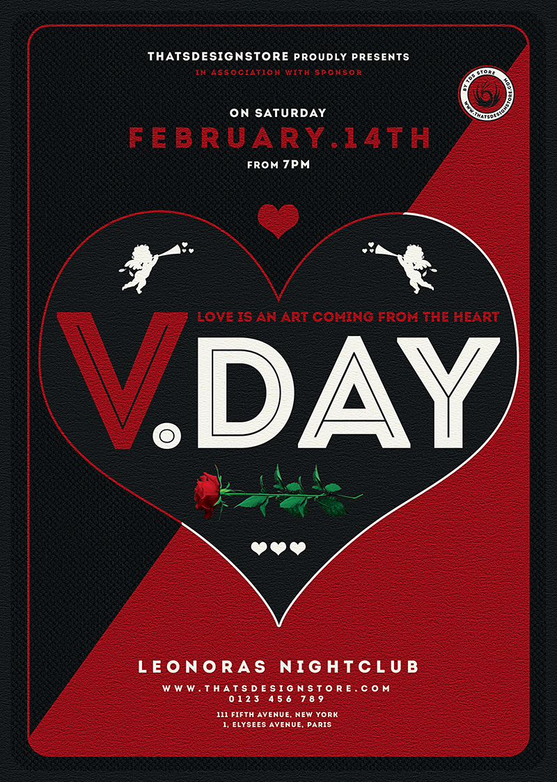 Valentine's Day Flyer Template psd download V17 Psd download to customize with photoshop