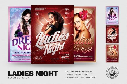 Flyers templates, flyer templates, party flyers, club flyer, club flyers, ladies night flyer template psd bundle