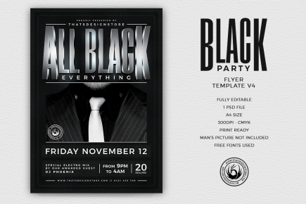 Black Party Flyer Template V4v
