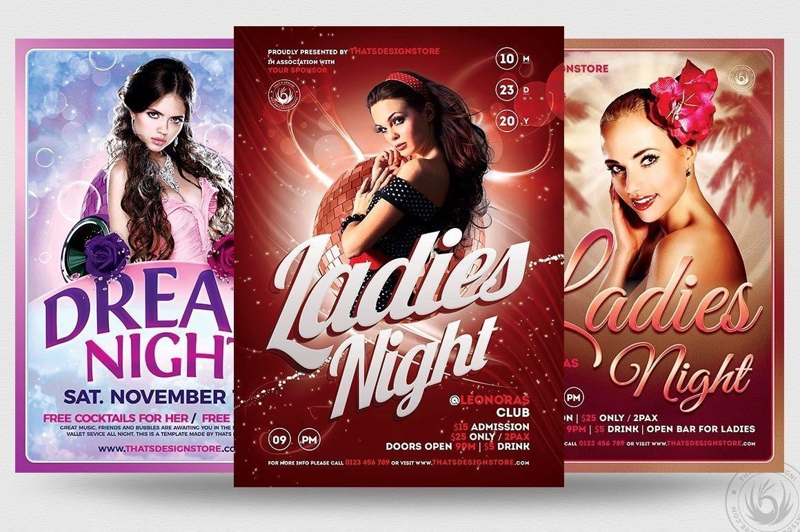 ladies night flyer templates psd bundle for photoshop