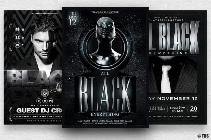 Black Party Flyer Templates Bundle