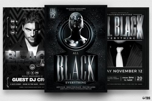 Black Party Flyer Templates Bundle