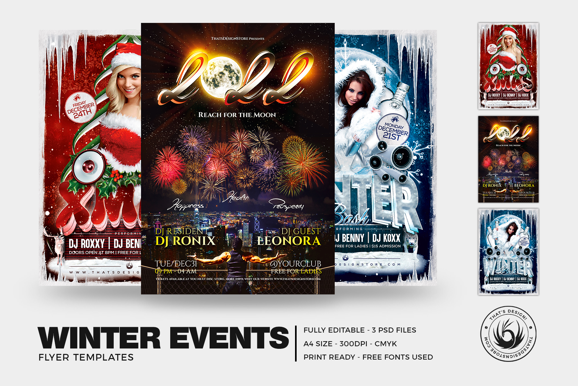 Winter Events Flyer Bundle