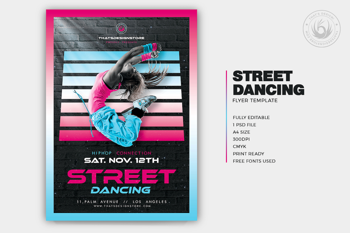 Street Dancing Flyer Template PSD design download