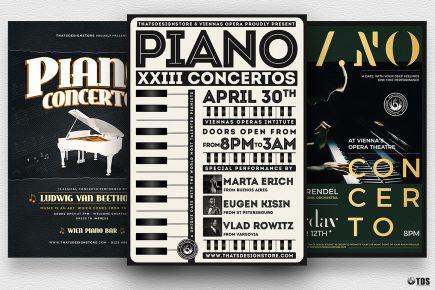 Piano Concerto Flyer psd templates Bundle