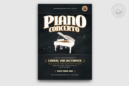 Piano Concerto Flyer Template psd download V4