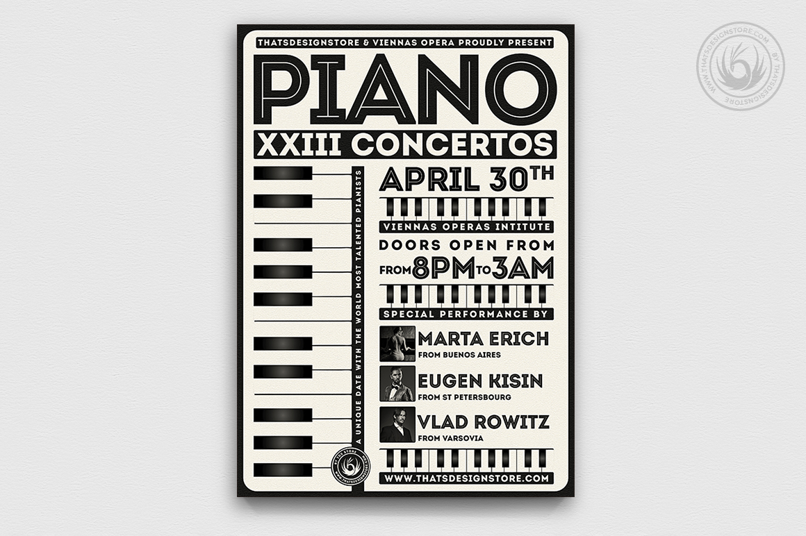 Piano Concerto Flyer Template psd download V5