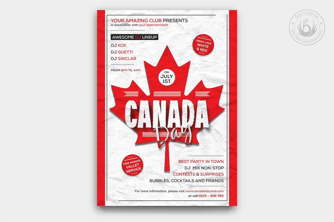 Canada Day Flyer Poster Template | Free posters design for photoshop