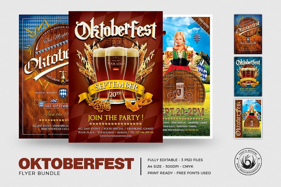 Oktoberfest Flyer Templates for Photoshop Bundle / Beer Party Psd design
