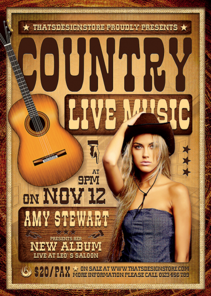 Country Live Flyer Template PSD download V4, Wanted flyers farwest Western music template, rodeo bike cowboy in a coyote bar