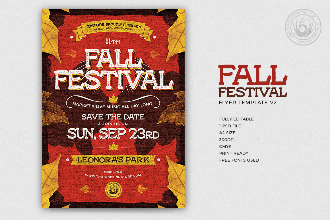 Download Fall Festival Flyer Template PSD V2 to customize with photoshop