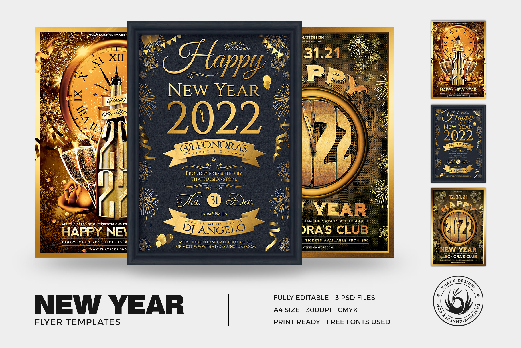 New year eve flyer templates psd bundle