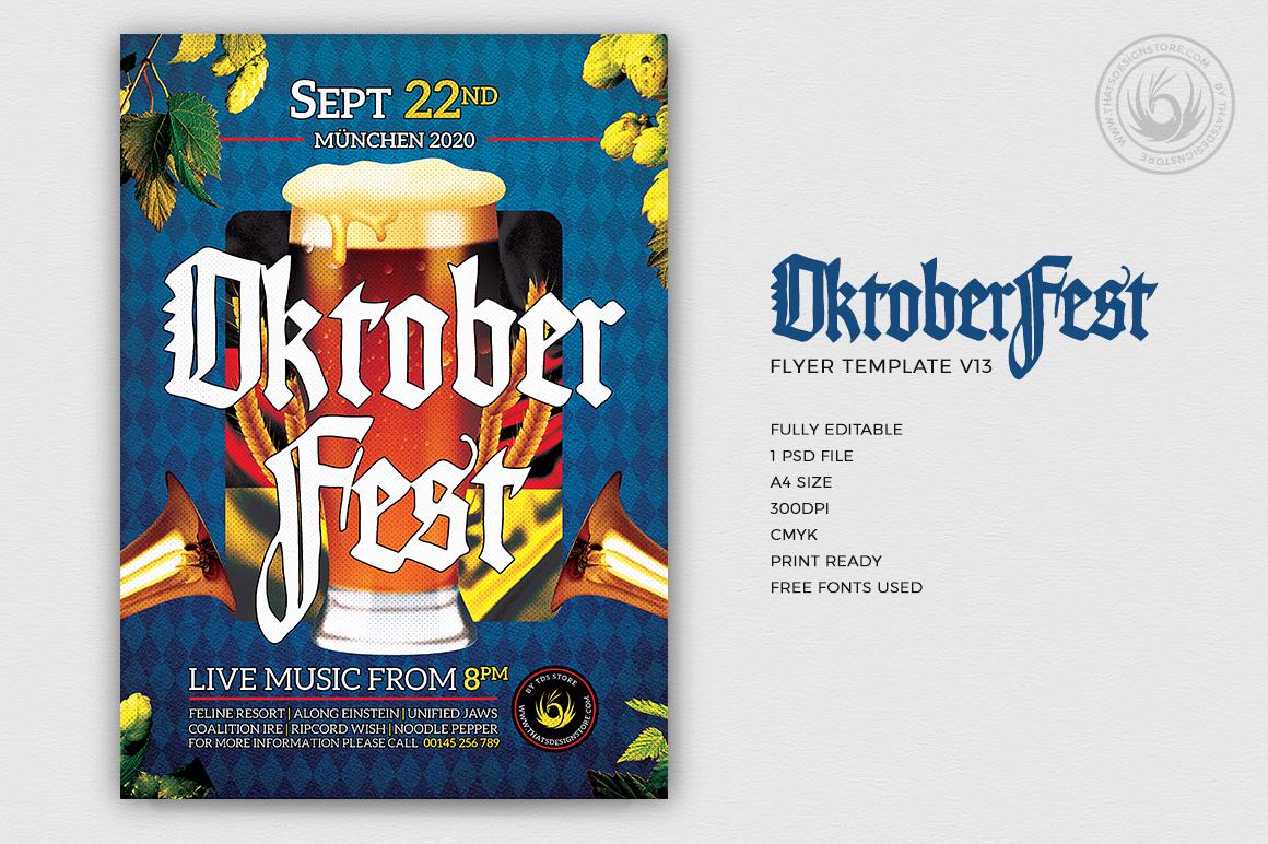 Beer Party Oktoberfest Flyer PSD Template design V13