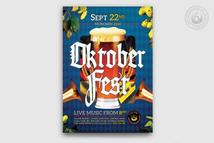 Beer Party Oktoberfest Poster Flyer PSD Template design