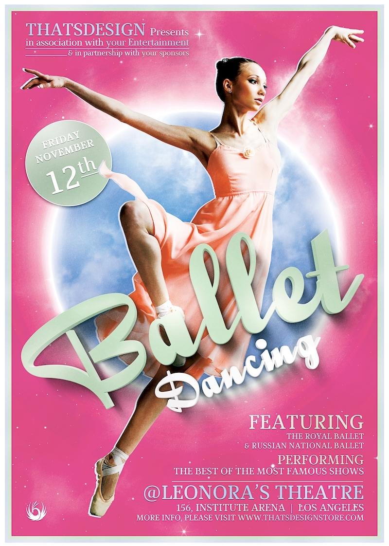 Dance Ballet Flyer template psd design download V2
