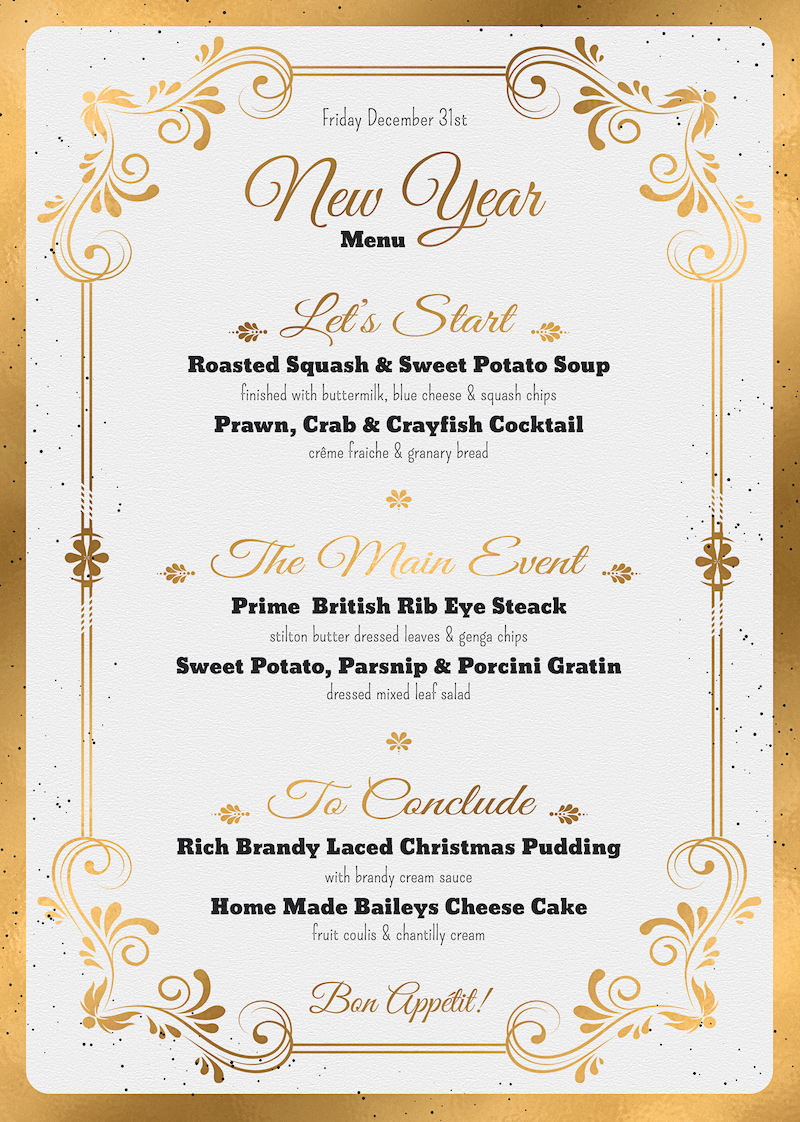 New Year Menu Template PSD to customize with photoshop V1