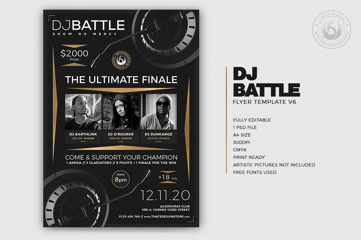 Dj Battle Flyer Template PSD download V6, electro club & party poster design