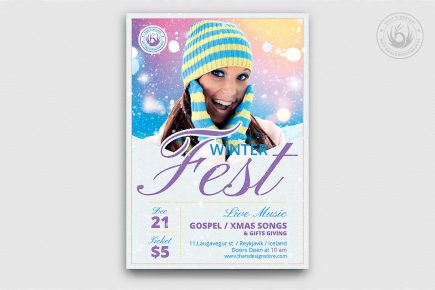 Winter Festival Flyer Template PSD download V3