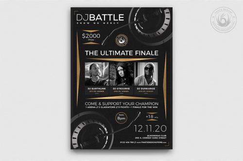 Dj Battle Flyer Template PSD download V6, electro club & party poster design