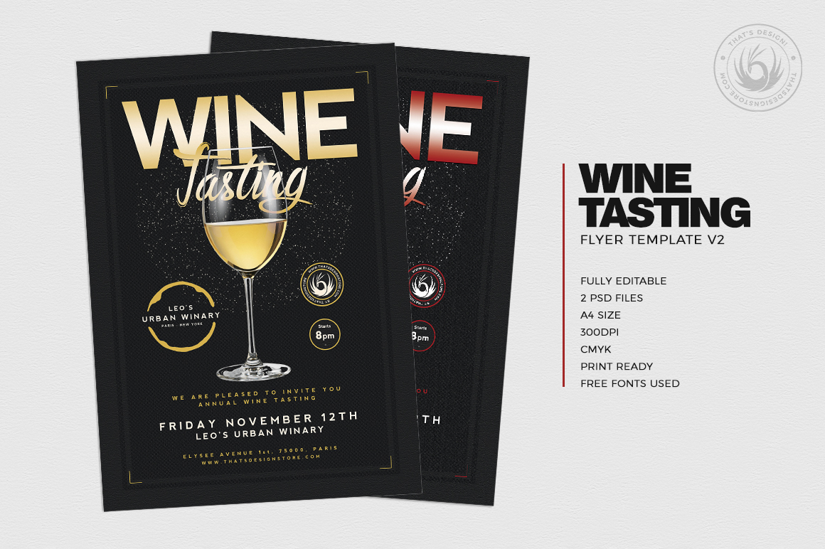 Wine Tasting Flyer Template V2, french afterwork psd download. Happy hour, drinks cocktails