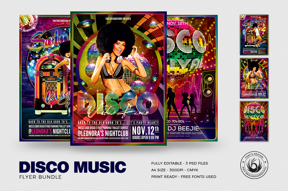 Disco Flyer Templates psd download for Photoshop