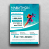 Freebies, Marathon Fundraiser poster free download Psd Template, breast cancer benefit charity event