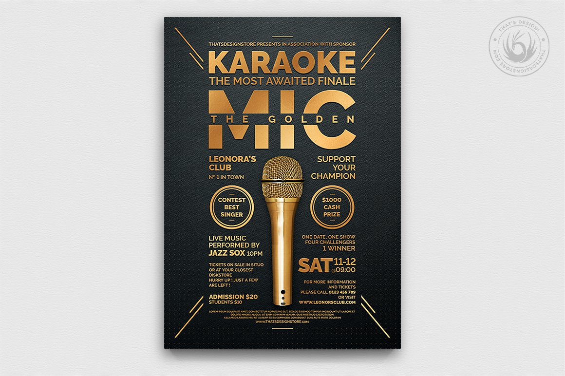 Karaoke night flyer poster templates, room, bar, contest, Open mic