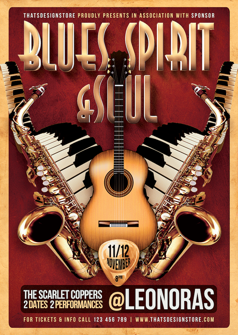 Blues and Soul Live Flyer Template, Concert psd posters download