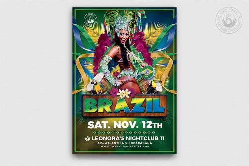 Brazilian Show Flyer Template,  Brazil Carnival or workshop and capoeira classes. Editable Latin night flyers