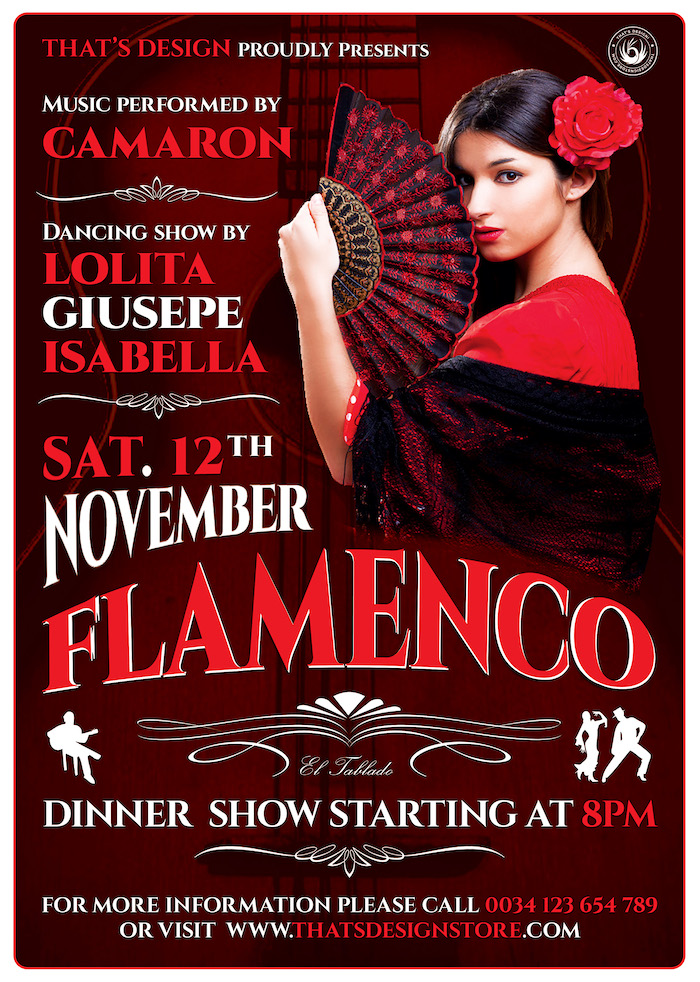 Flamenco Poster Flyer Template psd for photoshop V.2