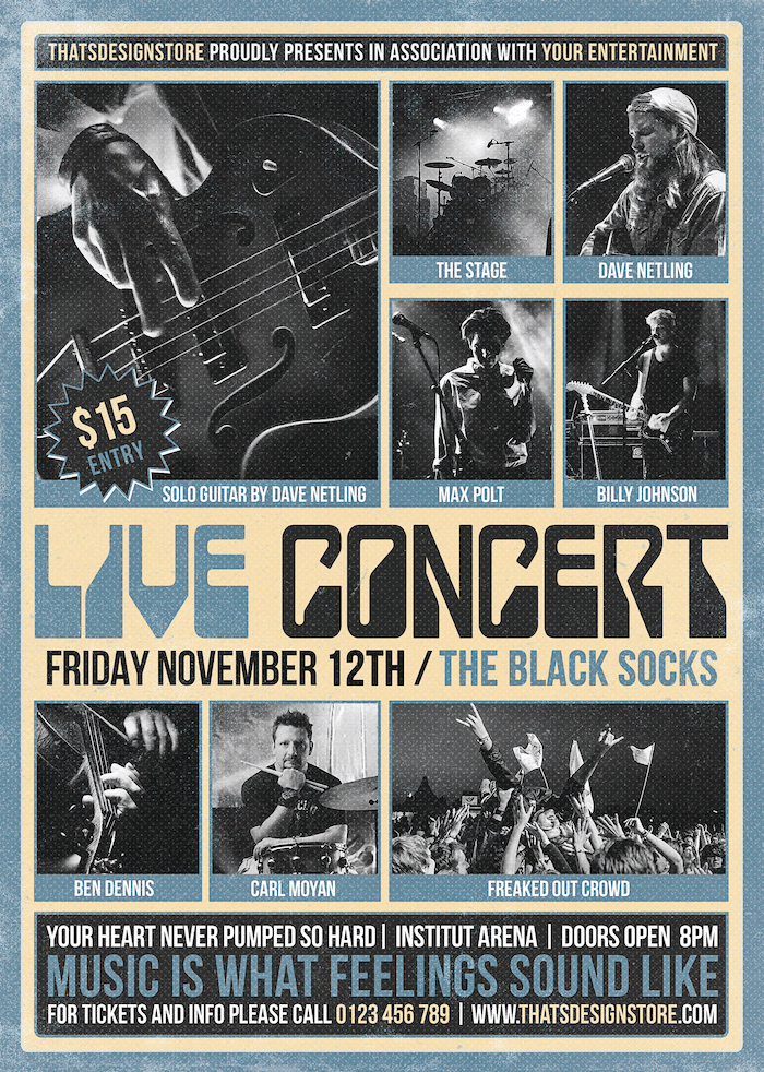Live Concert Flyer Template Psd; band posters